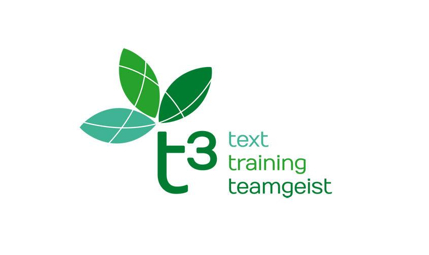 t3 – text, training, teamgeist / Logo